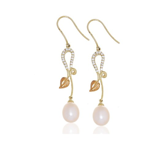 Clogau 9ct Yellow Rose Gold Diamond Set Drop Earrings Qvc Uk