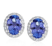 2.5ct AAAA Tanzanite & 0.2ct Diamond Earrings Platinum - 655296