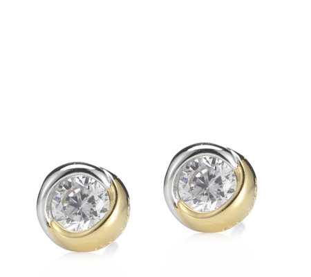 Diamonique 0.5ct tw Bezel Set Stud Earrings Sterling Silver