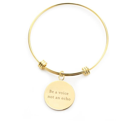 K by Kelly Hoppen Message Disc Bracelet 18ct Gold Plated Bronze