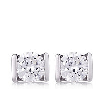 Diamonique 1ct tw Tension Set Effect Stud Earrings Sterling Silver - 645599