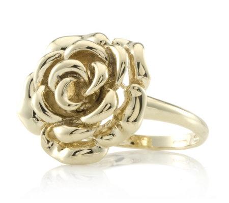 9ct Gold Highly Polished Rose Design Ring