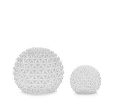 Home Reflections Set of 2 Indoor Outdoor Sandstone Spheres With Timer - 708501