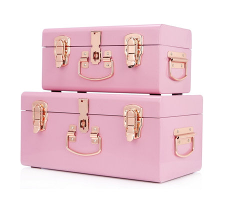 BundleBerry by Amanda Holden Set of 2 Mini Trunks with Rose Gold Fittings