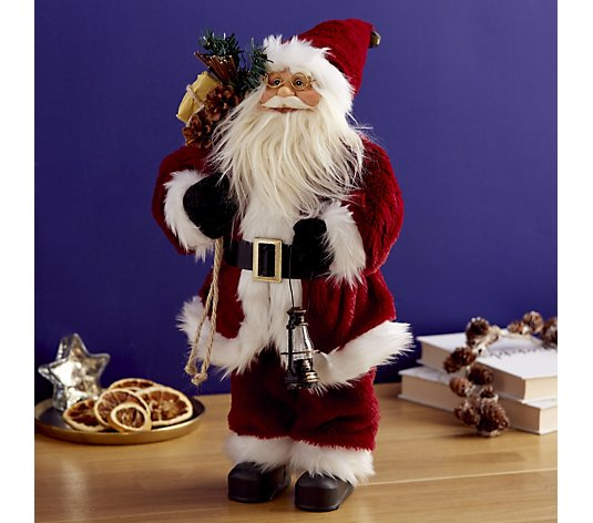 Festive Standing Santa Claus with Light Up Lantern