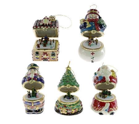 Mr Christmas Set Of 5 Musical Box Ornaments Series 1 Qvc Uk