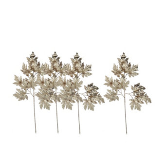 Home Reflections Set of 4 Glittered Maple Leaf Stems - 707305