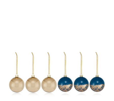 Alison Cork Set of 6 Foil & Metallic Baubles