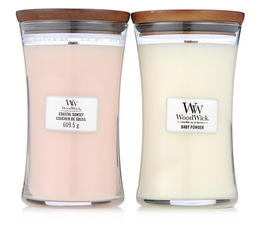 Woodwick Set of 2 Baby Powder & Coastal Sun Hourglass Candles