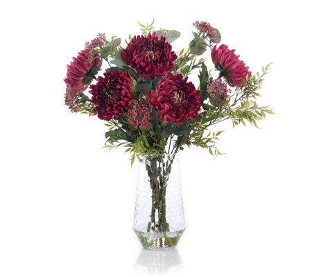 Peony Chrysanthumums with Foliage in a Clear Textured Vase