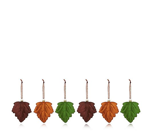 Home Reflections Set of 6 Glass Glitter Leaf Decorations