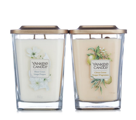 Yankee Candle Set of 2 Sheer Linen & Citrus Grove Elevate Large Jars
