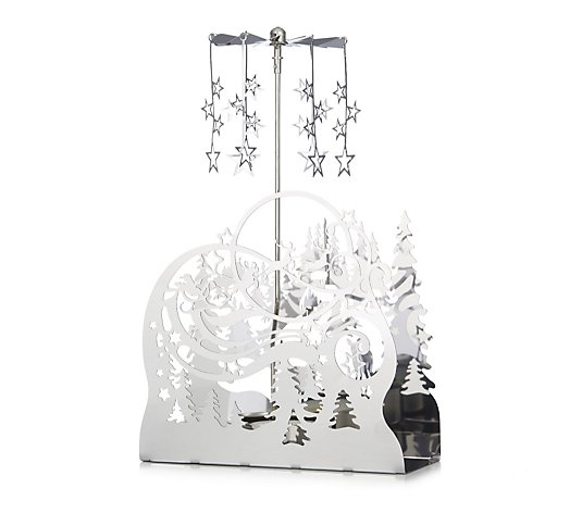 Home Reflections Rotating Metal Christmas Scene Candle Holder