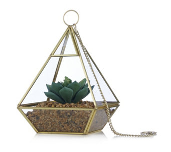 Home Reflections Terrarium with Faux Succulent Glass Geometric Decor - 706613