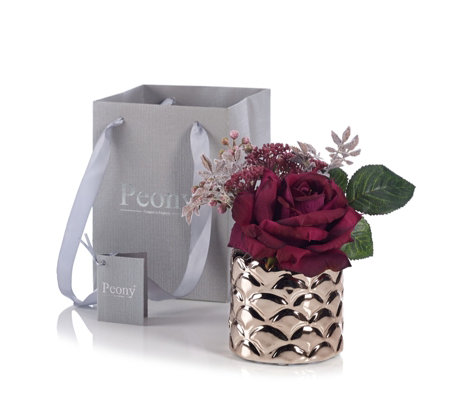 Peony Rose & Berry in Scaloped Pot with Gift Bag