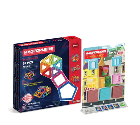 Magformers 62 Piece Basic Set with House Lamp Accessory Pack