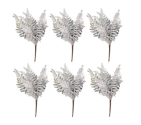Festive Set of 6 Glitter Fern Stems