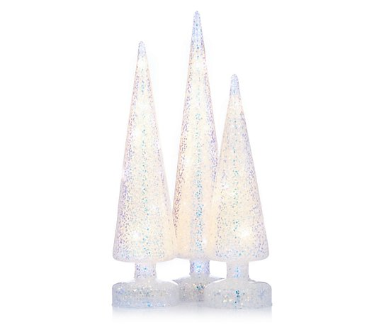 Home Reflections Set of 3 Pre-Lit Sequin Decorations