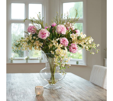 Peony Hydrangeas Peonies Foliage In A Large Footed Vase Qvc Uk