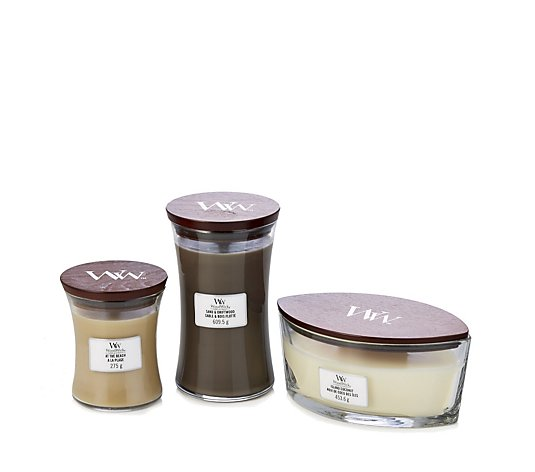 Woodwick 3 Piece Ellipse & Hourglass Candle Collection