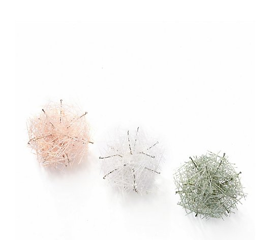 Home Reflections Set of 3 Glitter Decorations