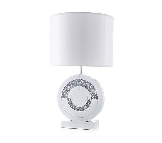 JM by Julien Macdonald Round Encapsulated Crystal Lamp with Lamp Shade