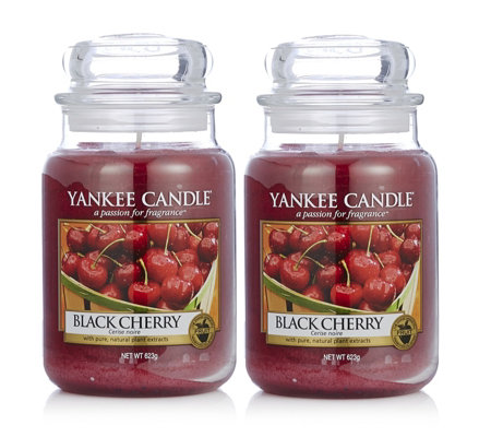 Yankee Candle Set of 2 Black Cherry Large Jars