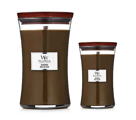 Woodwick Large & Medium Oudwood Candle Duo