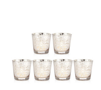 Home Reflections Set of 6 Mercury Glass Votives with LED Candles - 707518