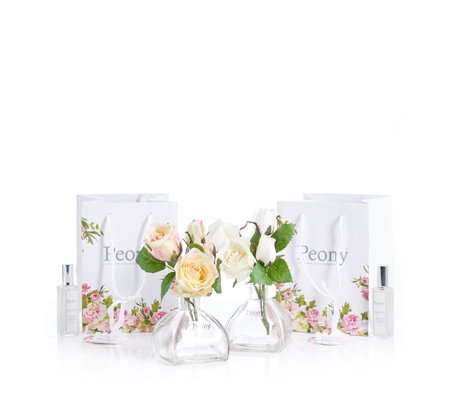 Peony Set of 2 Rose Arrangements with Fragrance & Gift Bag
