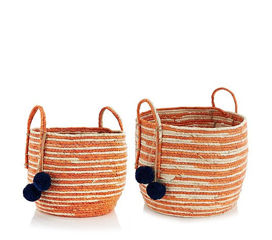 Edited by Erica Davies Set of 2 Straw Baskets with Pom Poms