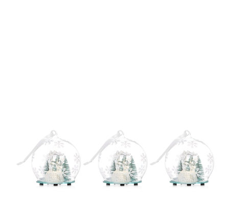 Home Reflections Set of 3 Pre-Lit Reindeer Scene Baubles