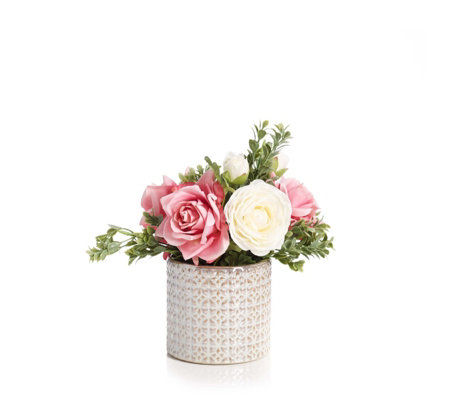 Peony Roses & Ranunncula with Foliage in a Pearl Pot