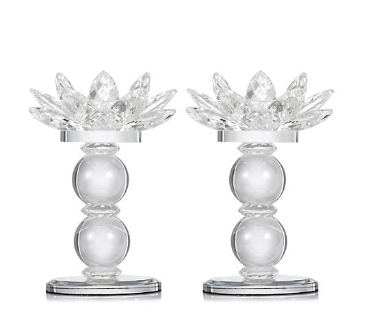 JM by Julien Macdonald Crystal Lotus Flower Tealight Holders in Gift Box
