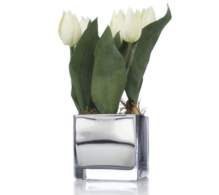 Peony Tulips Faux Flowers In A Mirrored Glass Cube Vase Qvc Uk