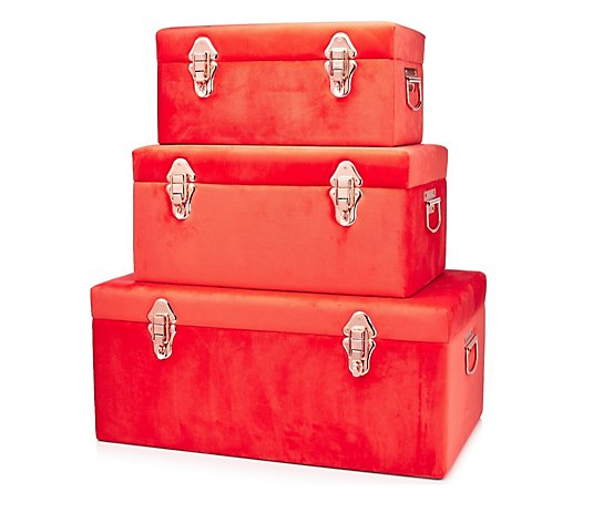 BundleBerry by Amanda Holden Set of 3 Velvet Touch Trunks
