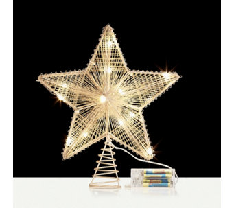 home reflections 25cm led copper star tree topper 708622