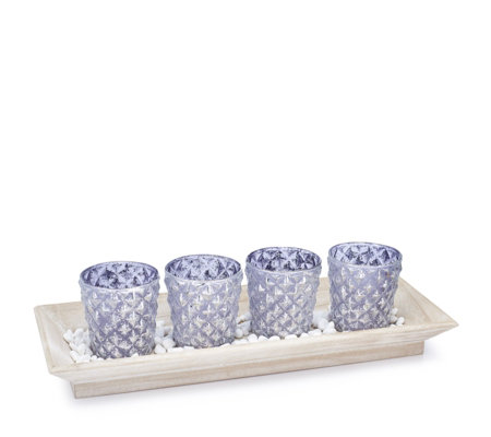 Home Reflections Set of 4 Glass Flocking Candle Holder with Plate