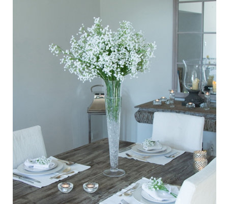 Peony Gypsophila In A Conical Vase Qvc Uk