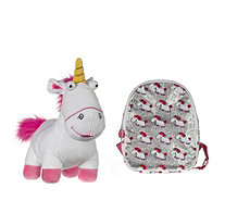 Despicable Me 3 Small Glitter Backpack & Large Fluffy Unicorn Plush Toy - 707825