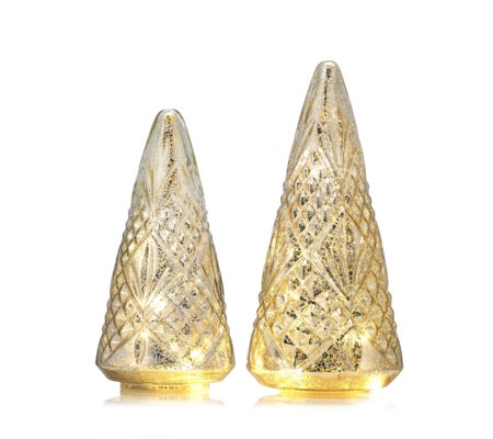 Alison Cork Set of 2 Mercury Cut Glass Decorations