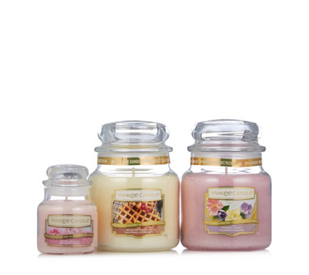 Yankee Candle Set of 2 Medium & 1 Small Sunday Brunch Candle Collection
