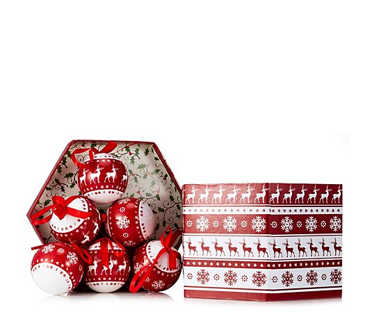 Festive Set of 14 Decoupage Baubles in Decorative Box