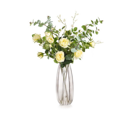Peony Real Touch Yellow Spray Roses with Eucalyptus in a Smoked Vase