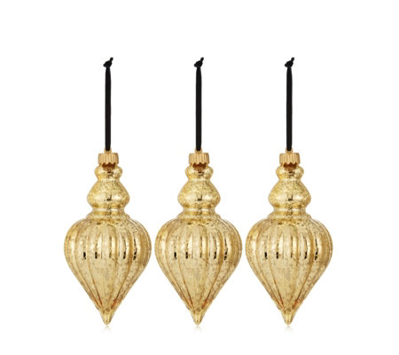 Alison Cork Set of 3 Glass LED Teardrop Baubles Gold