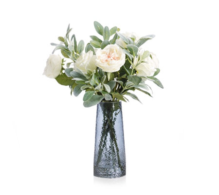 Peony Roses with Lambs Leaf & Skimmia in Textured Vase