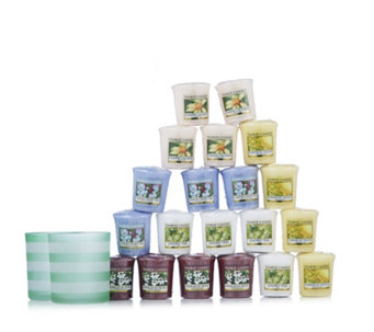 Yankee Candle Coastal Living Dark Green Stripe Votive Holder Duo & 12 Votives - 707133
