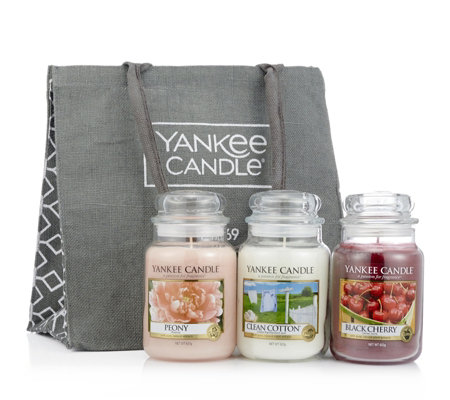 Yankee Candle Set of 3 Large Jars & Tote Bag