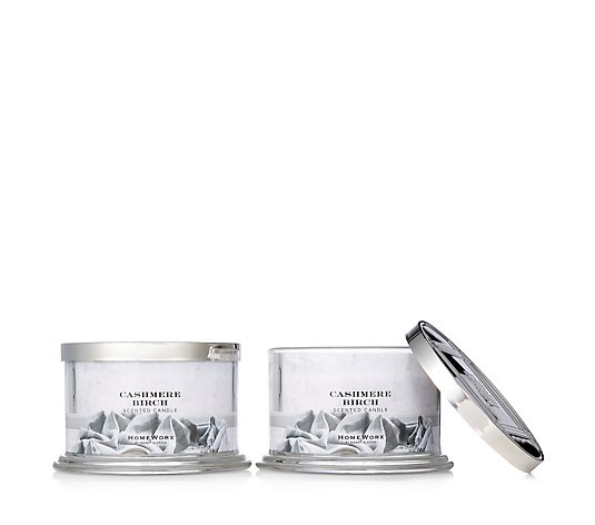 HomeWorx by Harry Slatkin Set of 2 Cashmere Birch 4 Wick Candles