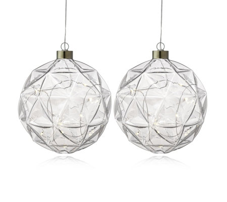Home Reflections Set of 2 Pre Lit Geometric Hanging Balls